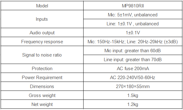 pa system microphone specification