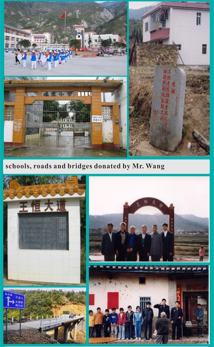 schools, roads and bridges donated by mr.Wang