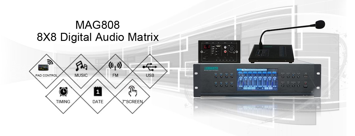 mag808 digital audio matrix pa system